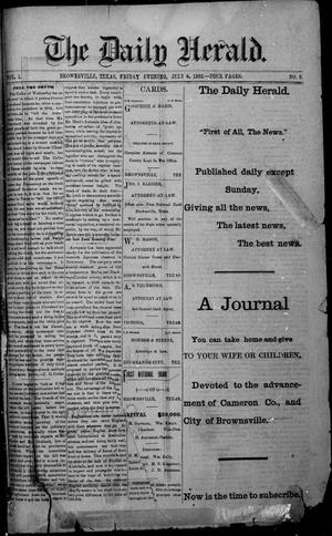 Primary view of object titled 'The Daily Herald (Brownsville, Tex.), Vol. 1, No. 5, Ed. 1, Friday, July 8, 1892'.