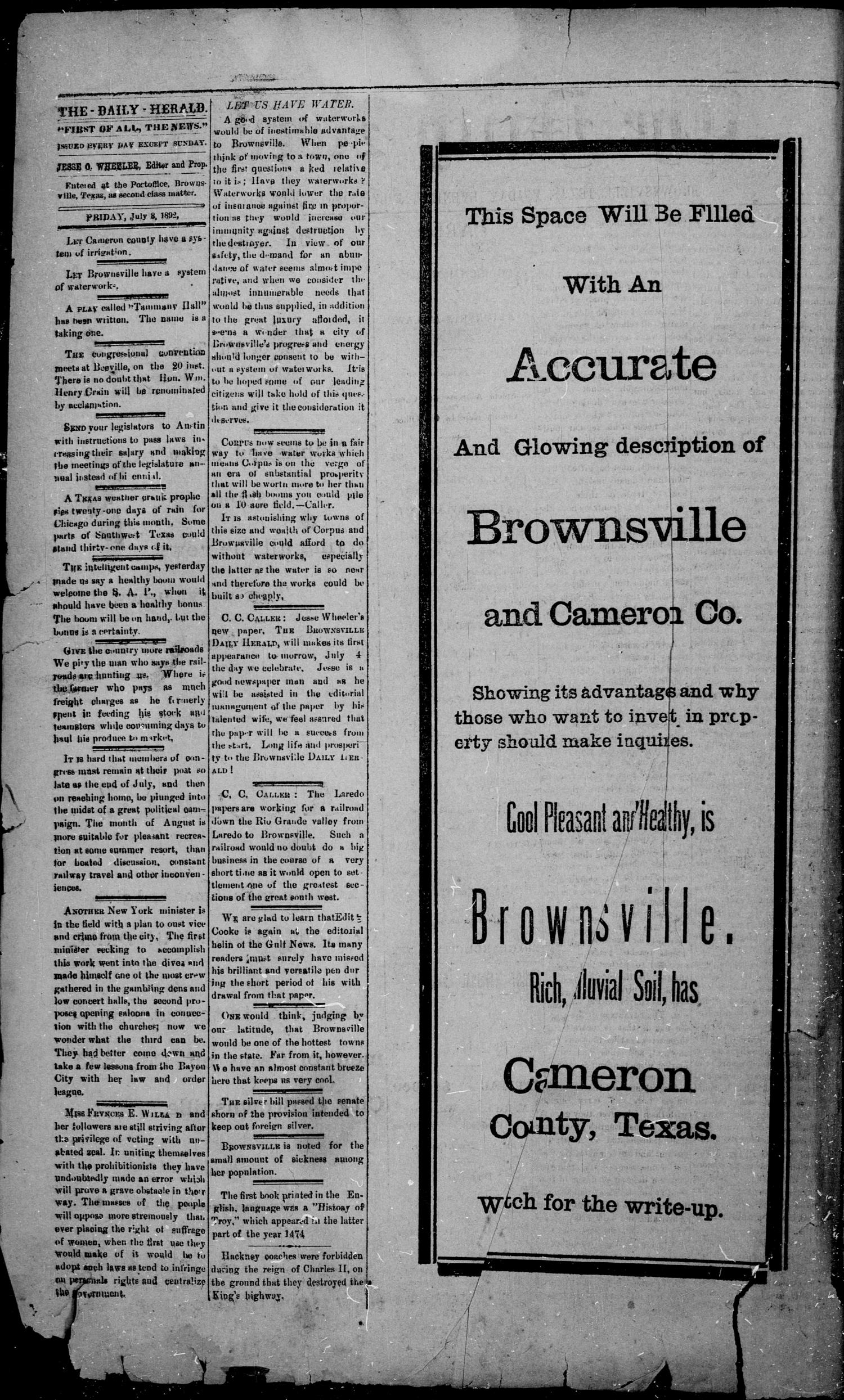 The Daily Herald (Brownsville, Tex.), Vol. 1, No. 5, Ed. 1, Friday, July 8, 1892                                                                                                      [Sequence #]: 2 of 4