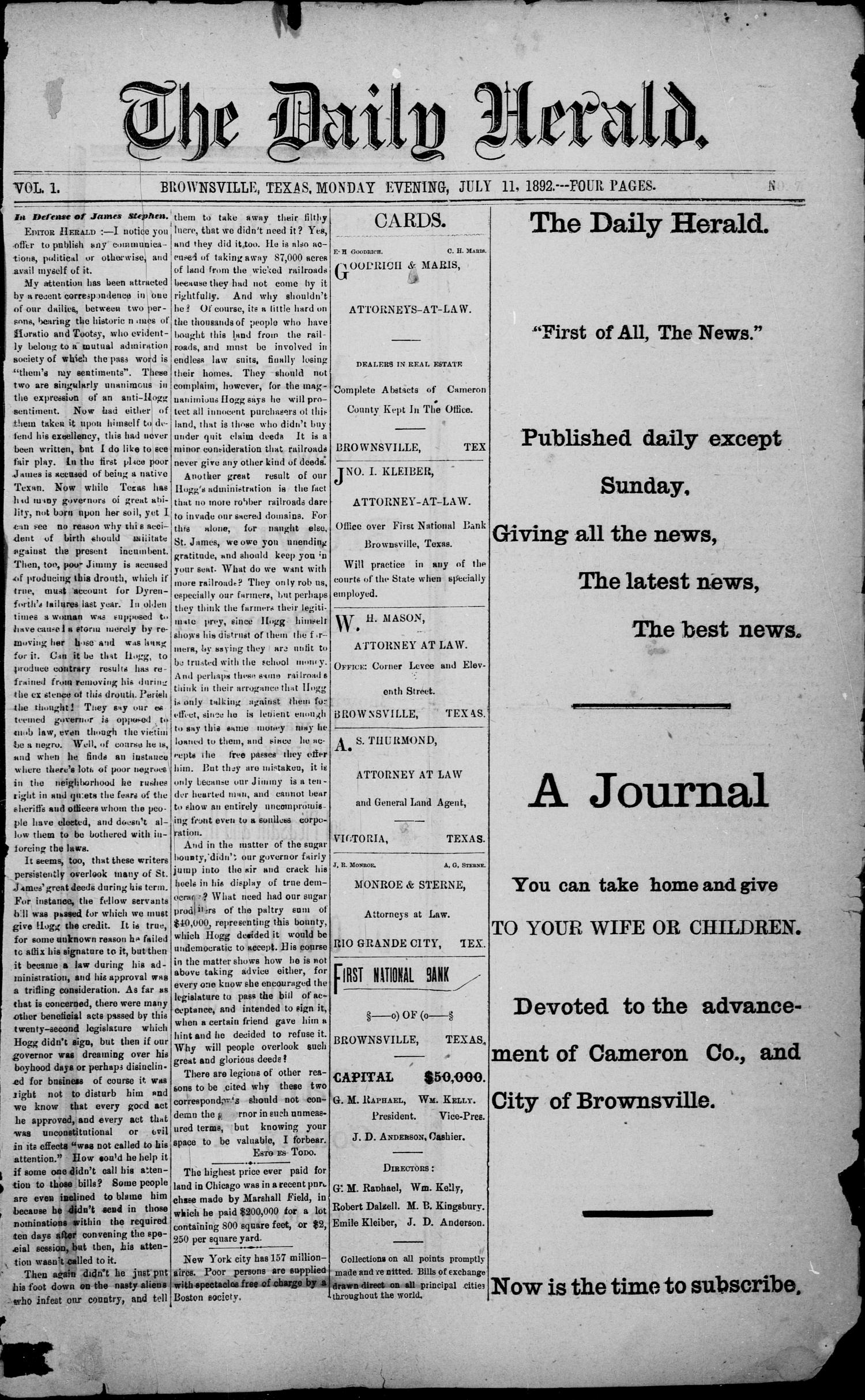 The Daily Herald (Brownsville, Tex.), Vol. 1, No. 7, Ed. 1, Monday, July 11, 1892                                                                                                      [Sequence #]: 1 of 4