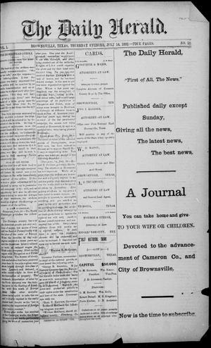 Primary view of object titled 'The Daily Herald (Brownsville, Tex.), Vol. 1, No. 10, Ed. 1, Thursday, July 14, 1892'.