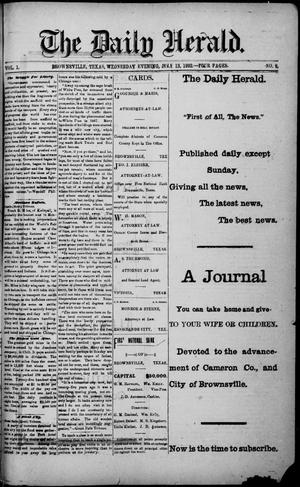Primary view of object titled 'The Daily Herald (Brownsville, Tex.), Vol. 1, No. 9, Ed. 1, Wednesday, July 13, 1892'.