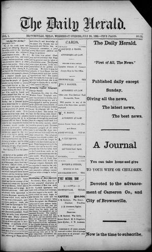 Primary view of object titled 'The Daily Herald (Brownsville, Tex.), Vol. 1, No. 15, Ed. 1, Wednesday, July 20, 1892'.