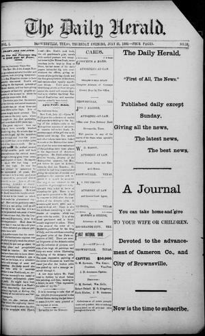 Primary view of object titled 'The Daily Herald (Brownsville, Tex.), Vol. 1, No. 16, Ed. 1, Thursday, July 21, 1892'.