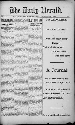 Primary view of object titled 'The Daily Herald (Brownsville, Tex.), Vol. 1, No. 17, Ed. 1, Friday, July 22, 1892'.