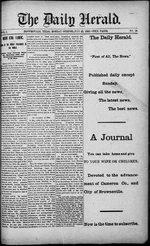 Primary view of object titled 'The Daily Herald (Brownsville, Tex.), Vol. 1, No. 19, Ed. 1, Monday, July 25, 1892'.