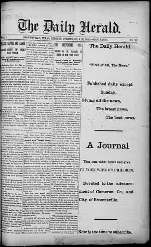 Primary view of object titled 'The Daily Herald (Brownsville, Tex.), Vol. 1, No. 20, Ed. 1, Tuesday, July 26, 1892'.