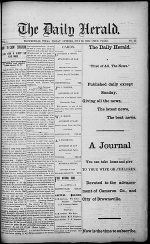 Primary view of object titled 'The Daily Herald (Brownsville, Tex.), Vol. 1, No. 23, Ed. 1, Friday, July 29, 1892'.