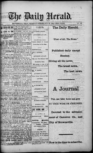 Primary view of object titled 'The Daily Herald (Brownsville, Tex.), Vol. 1, No. 22, Ed. 1, Thursday, July 28, 1892'.
