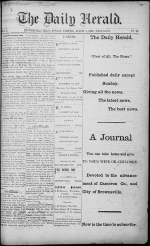 Primary view of object titled 'The Daily Herald (Brownsville, Tex.), Vol. 1, No. 25, Ed. 1, Monday, August 1, 1892'.