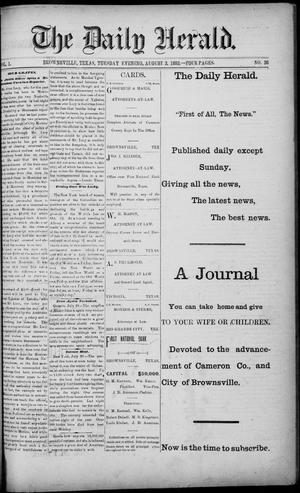 Primary view of object titled 'The Daily Herald (Brownsville, Tex.), Vol. 1, No. 26, Ed. 1, Tuesday, August 2, 1892'.