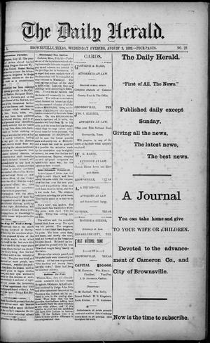 Primary view of object titled 'The Daily Herald (Brownsville, Tex.), Vol. 1, No. 27, Ed. 1, Wednesday, August 3, 1892'.