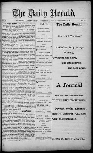 Primary view of object titled 'The Daily Herald (Brownsville, Tex.), Vol. 1, No. 28, Ed. 1, Thursday, August 4, 1892'.