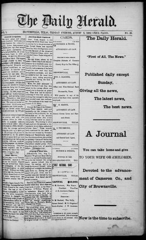 Primary view of object titled 'The Daily Herald (Brownsville, Tex.), Vol. 1, No. 29, Ed. 1, Friday, August 5, 1892'.