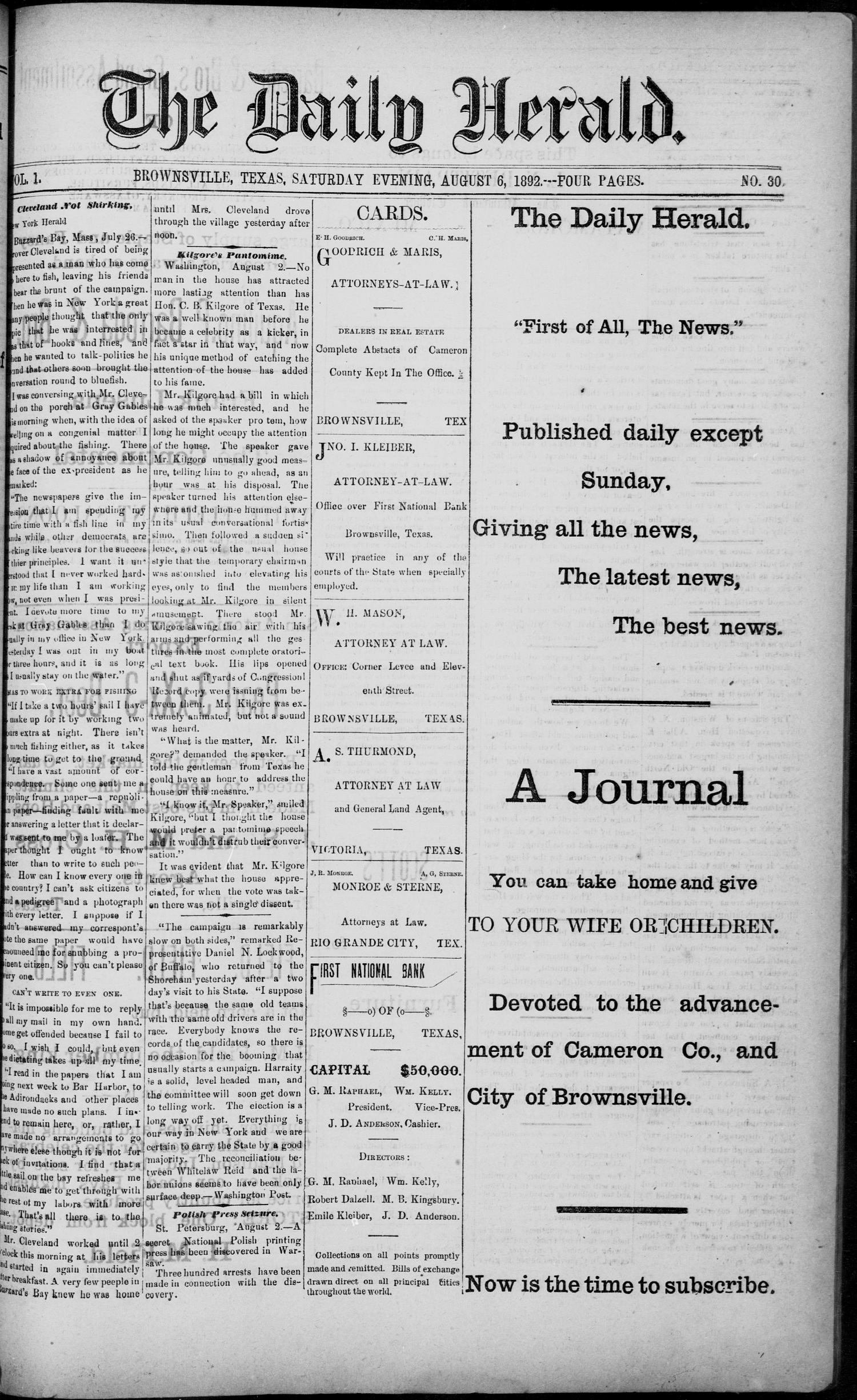 The Daily Herald (Brownsville, Tex.), Vol. 1, No. 30, Ed. 1, Saturday, August 6, 1892                                                                                                      [Sequence #]: 1 of 4