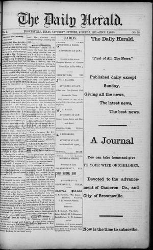 Primary view of object titled 'The Daily Herald (Brownsville, Tex.), Vol. 1, No. 30, Ed. 1, Saturday, August 6, 1892'.