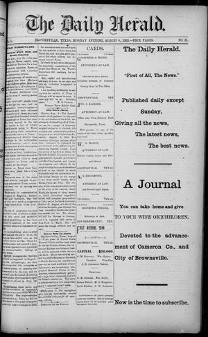 Primary view of object titled 'The Daily Herald (Brownsville, Tex.), Vol. 1, No. 31, Ed. 1, Monday, August 8, 1892'.