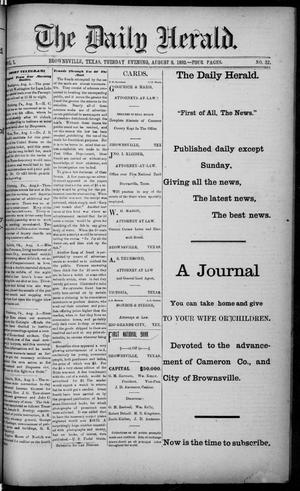 Primary view of object titled 'The Daily Herald (Brownsville, Tex.), Vol. 1, No. 32, Ed. 1, Tuesday, August 9, 1892'.