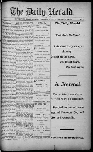 Primary view of object titled 'The Daily Herald (Brownsville, Tex.), Vol. 1, No. 33, Ed. 1, Wednesday, August 10, 1892'.