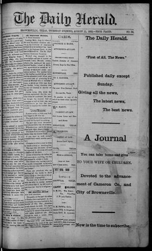 Primary view of object titled 'The Daily Herald (Brownsville, Tex.), Vol. 1, No. 34, Ed. 1, Thursday, August 11, 1892'.