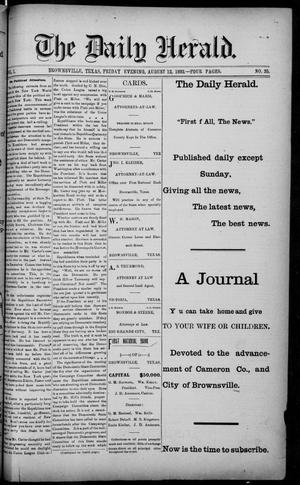 Primary view of object titled 'The Daily Herald (Brownsville, Tex.), Vol. 1, No. 35, Ed. 1, Friday, August 12, 1892'.