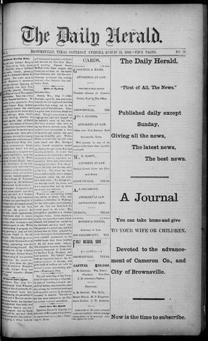 Primary view of object titled 'The Daily Herald (Brownsville, Tex.), Vol. 1, No. 36, Ed. 1, Saturday, August 13, 1892'.