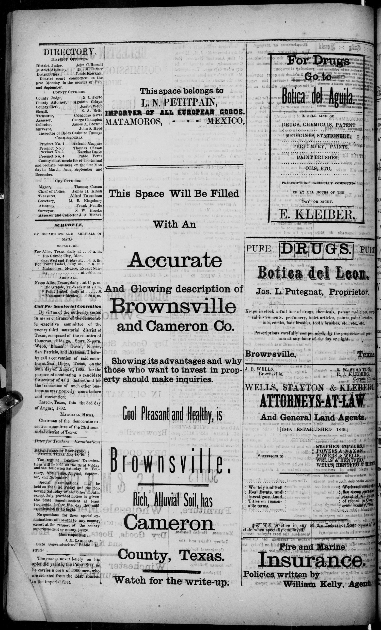 The Daily Herald (Brownsville, Tex.), Vol. 1, No. 46, Ed. 1, Thursday, August 25, 1892                                                                                                      [Sequence #]: 4 of 4
