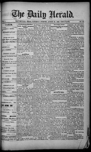 Primary view of object titled 'The Daily Herald (Brownsville, Tex.), Vol. 1, No. 48, Ed. 1, Saturday, August 27, 1892'.