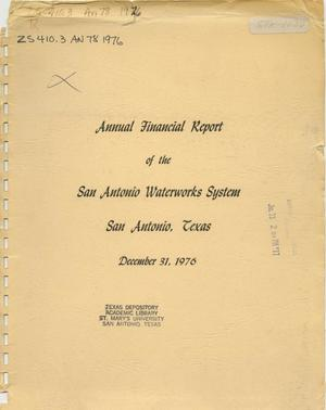 Primary view of object titled 'Annual Financial Report of the San Antonio Waterworks System'.