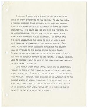Primary view of object titled '[John Tower Speech about Financing Public Education, 197u]'.