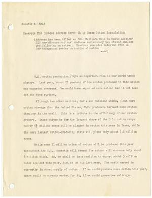 Primary view of object titled '[John Tower Speech on United States Cotton Exportation given to the Texas Cotton Association in Lubbock, Texas, March 24, 19uu]'.