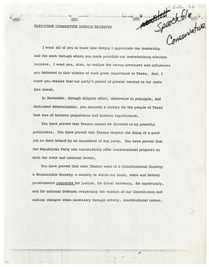 Primary view of object titled '[John Tower Speech on Texas Republican Congressional Victory, 1966?]'.
