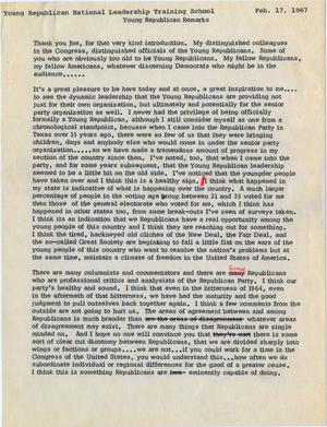 Primary view of object titled '[John Tower Speech about the Republican Party and the Vietnam War given to the Young Republican National Leadership Training School, February 17, 1967]'.
