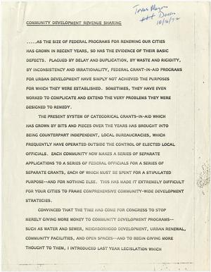 Primary view of object titled '[John Tower Speech about Community Development Revenue Sharing given to Texas Mayors in Dallas, Texas, October 16, 1972]'.