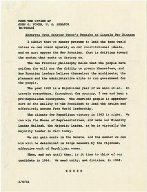 Primary view of object titled '[Excerpts from John Tower Lincoln Day Dinner Speech about Potential Republican Victory for 1962 Election, 196u]'.