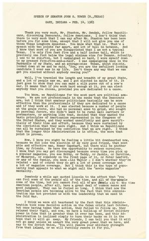 Primary view of object titled '[John Tower Speech about Campaigning, Gary, Indiana, Feb. 14, 1963]'.