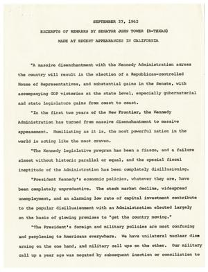 Primary view of object titled '[Excerpts from John Tower Speech about Failures of the Kennedy Administration given in California, September 27, 1962]'.