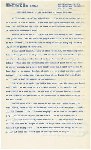 Primary view of object titled '[John Tower Speech to Republican Convention about Barry Goldwater Nomination, San Francisco, CA, July 15, 1964]'.