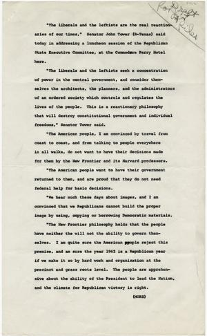 Primary view of object titled '[John Tower Speech about the 1962 Election given to the Republican State Executive Committee, 1962]'.