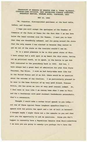 Primary view of object titled '[John Tower Speech about the Kennedy Administration given to the Ohio Republican Finance Committee in Cleveland, Ohio, May 15, 1962]'.