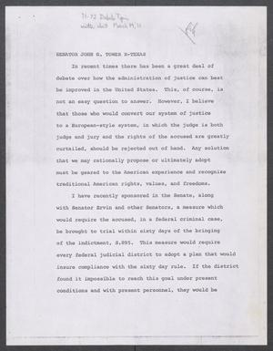 Primary view of object titled '[John Tower Speech about System of Justice Debate, 1971?]'.