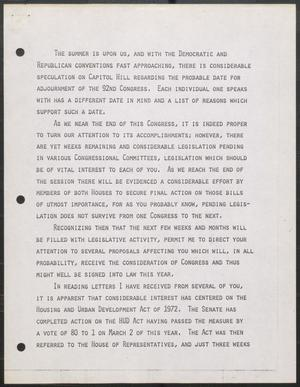 Primary view of [John Tower Speech about Housing Legislation, 1972]