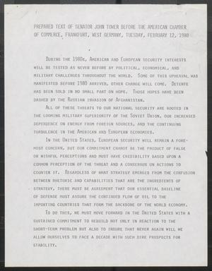 Primary view of object titled '[John Tower Speech to American Chamber of Commerce about American and European Security Interests, Frankfurt, West Germany, Feb. 12, 1980]'.