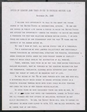 Primary view of object titled '[John Tower Speech on International Relations given to the Overseas Writers Club, November 24, 1980]'.
