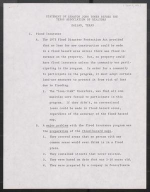 Primary view of object titled '[John Tower Speech Notes on Flood Insurance Programs given to the Texas Association of Realtors in Dallas, Texas, June 11, 1977]'.