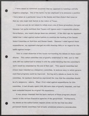Primary view of object titled '[John Tower Speech about his stance on the U.S. Senate Committee on Nutritional and Human Needs]'.