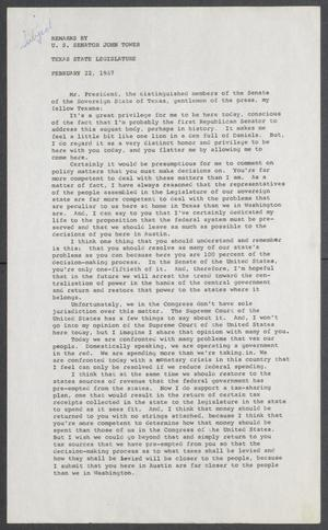 Primary view of object titled '[John Tower Speech on Centralized Power and the Vietnam War given to the Texas State Legislature in Austin, Texas, February 22, 1967]'.