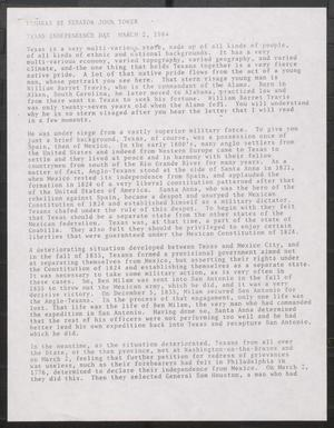 Primary view of object titled '[John Tower Speech on the Texas Revolution given for the Occasion of Texas Independence Day, March 2, 1984]'.