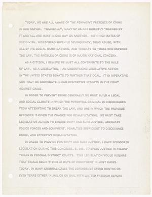Primary view of object titled '[John Tower Speech about crime prevention, 197u]'.