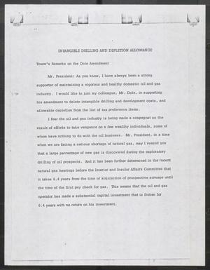 Primary view of object titled '[John Tower Speech on the Dole Amendment, 19uu]'.
