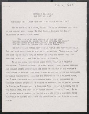 Primary view of object titled '[John Tower Speech on Protecting U.S. Interests in Energy and Minerals for Defense Purposes, 198u]'.